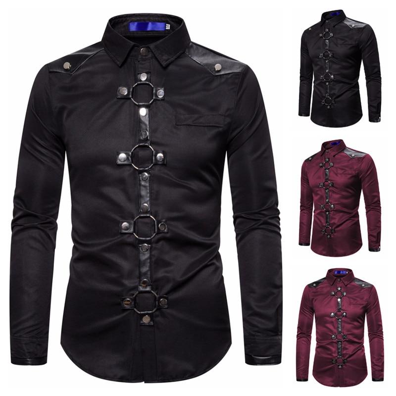 Brand Hip Hop Rivet Shirt Men 2020 Fashion Gothic Long Sleeve Casual Shirts Cotton Slim Uniform Stage Costumes Men's Clothing