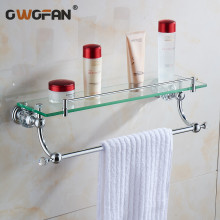 Free shipping Crystal & Brass Bathroom shelf double Pure copper&glass,bathroom hardware Accessories 4542