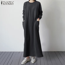 ZANZEA 2020 패션 여성 캐주얼 긴 맥시 복장 빈티지 운동복 Vestidos Pockets Split Party Beach Sundress Robe Femme 5XL(China)