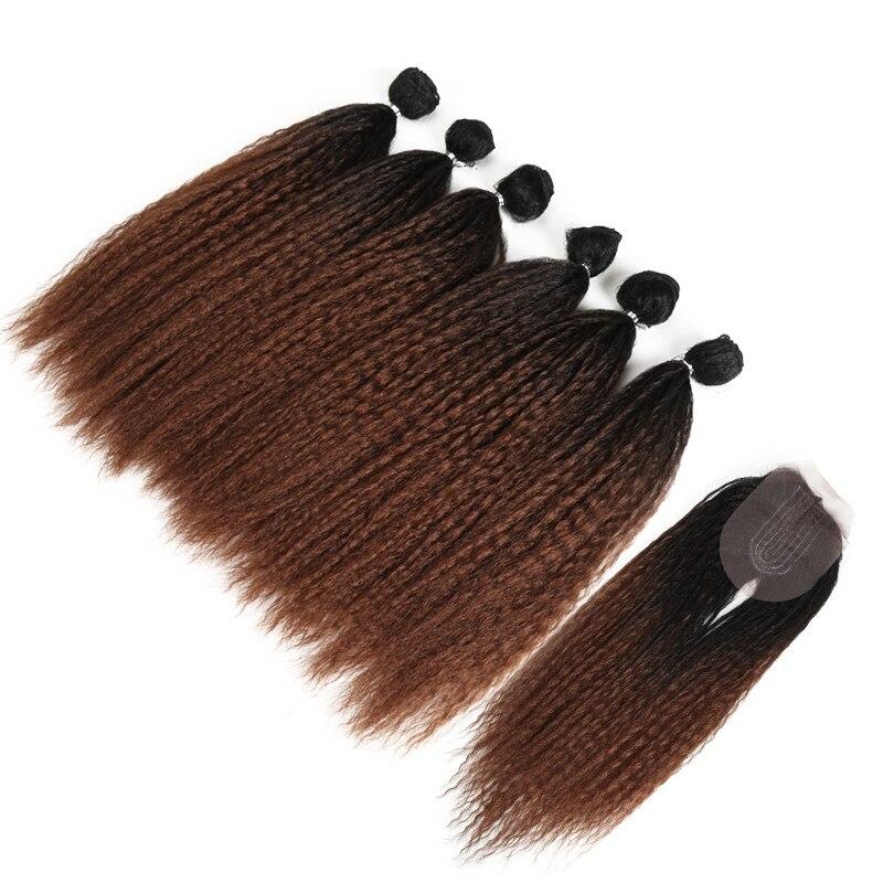 Reto para Preto Pacotes com Fechamento Extensão do Cabelo Afro Kinky Cabelo Tecer Ombre Marrom Sintético 7 Pçs – Lote Clássico Mais 6