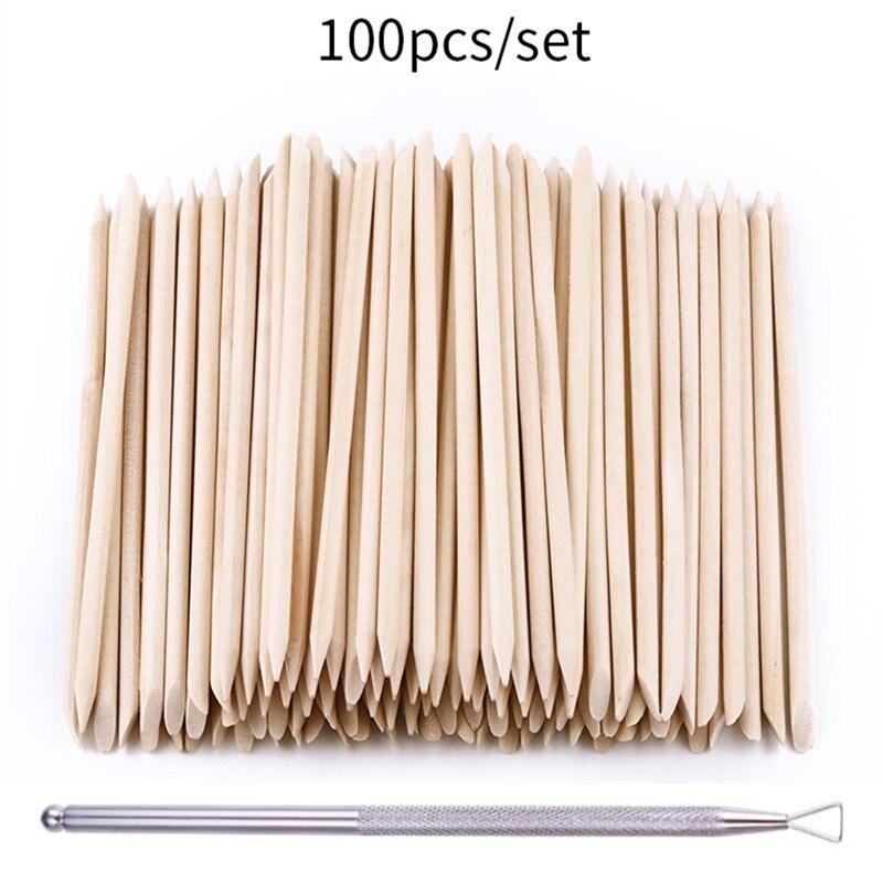 100pcs/set 50pcs/set Women Lady Double End Nail Art Wood Stick Cuticle Pusher Remover Pedicure Professional Nail Art Tool Set