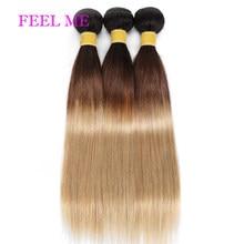 FeelMe Ombre düz saç 3/4 demetleri 100% brezilyalı insan saçı örgüsü demetleri 8-26 inç 1B 4 27 Remy saç dikmek uzantıları