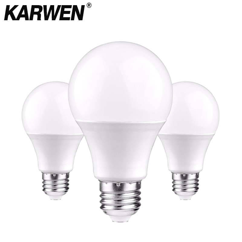 KARWEN LED Bulb Lamps E27 E14 Light Bulb 220V-240V Smart IC 3W 6W 9W 12W 15W 18W 20W High Brightness Lampada LED Bombillas