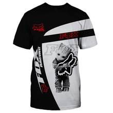 FOX-RACING-Camiseta con estampado 3D para hombre y mujer, camiseta de manga corta informal, moda de alta calidad, 2020