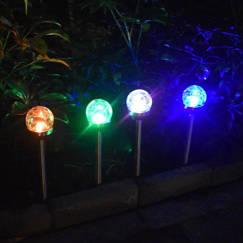 Solar Crack Lawn Light Glass Ball Globe Color Changing Lights Waterproof Outdoor Ground Lamp Garden Decorations Lighting