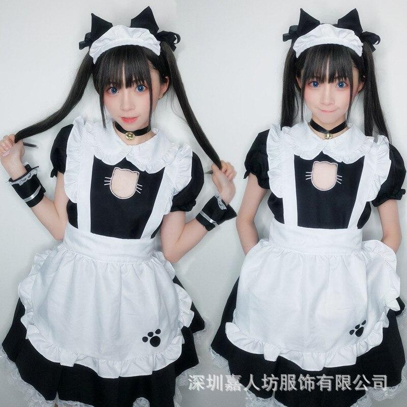 106.74грн. 5% СКИДКА|Костюм горничной для косплея, сексуальный костюм кошки для женщин, костюм котенка, хлопковый фартук, милое кружевное мини платье для женщин, аниме, черный, белый, Лолита|Сексуальные костюмы| |  - AliExpress