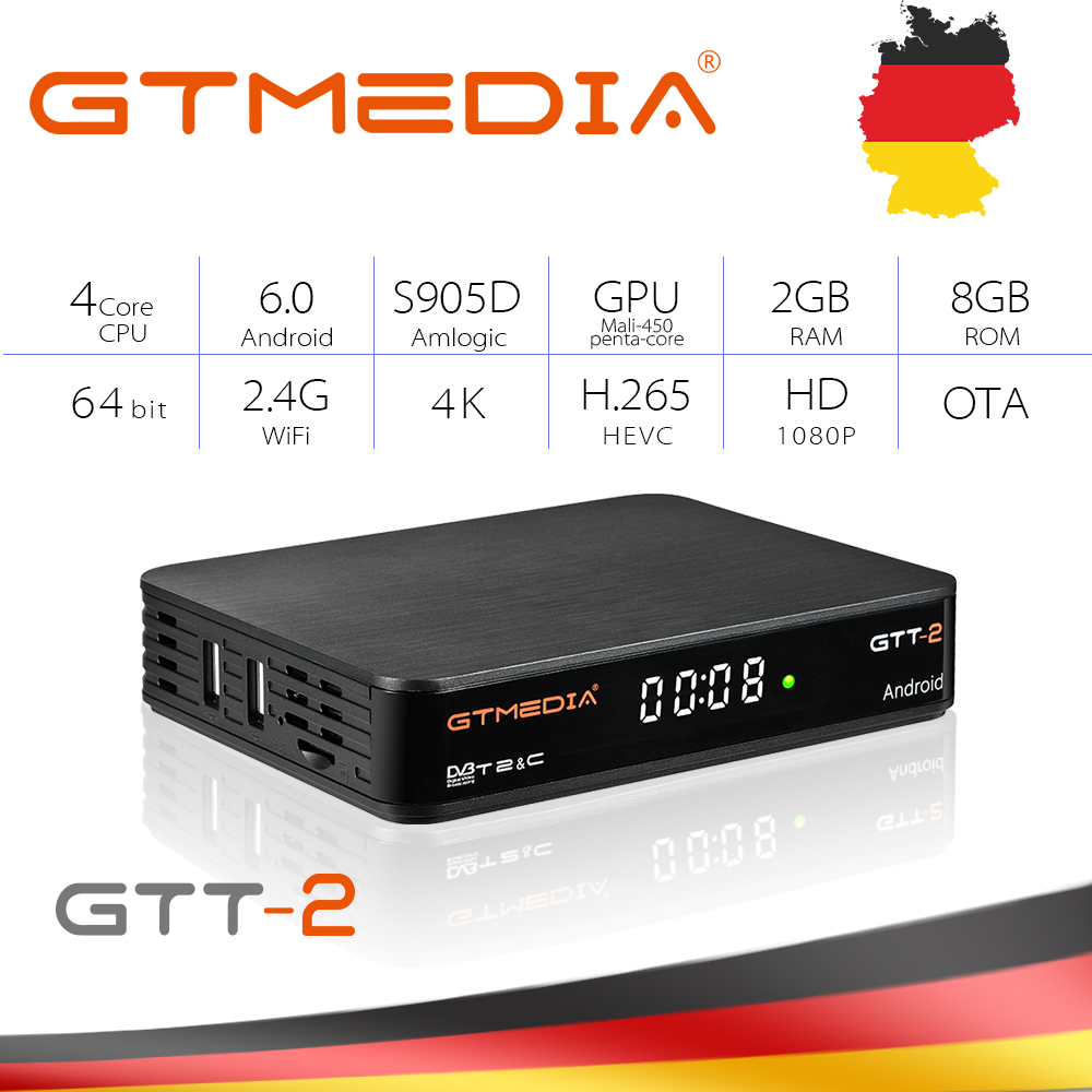 Original GTMEDIA GTT2 DVB-<font><b>T2</b></font>/Kabel <font><b>Android</b></font> TV <font><b>Box</b></font> + IPTV server 4K HDR <font><b>Android</b></font> 6.0 Ultra HD 2G 8G WIFI Google Cast Netflix IPTV image