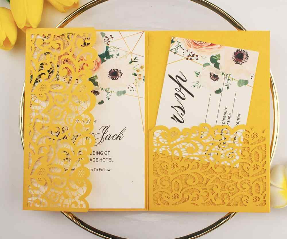 1pcs Burgundy Navy Blue Rose Gold Vine Vantage Tri fold Shinny Glitter  Paper Laser Cut Pocket Wedding Invitation Cards Envelope|Cards & Invitations|  - AliExpress