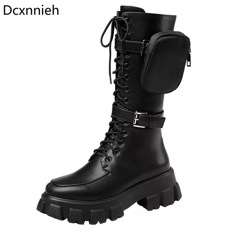 Women Black Leather Pockets Bag High Boots Thick Sole Flat Belt Buckle Trendy Motorcycle Bootie Female Comfortable Winter Boot