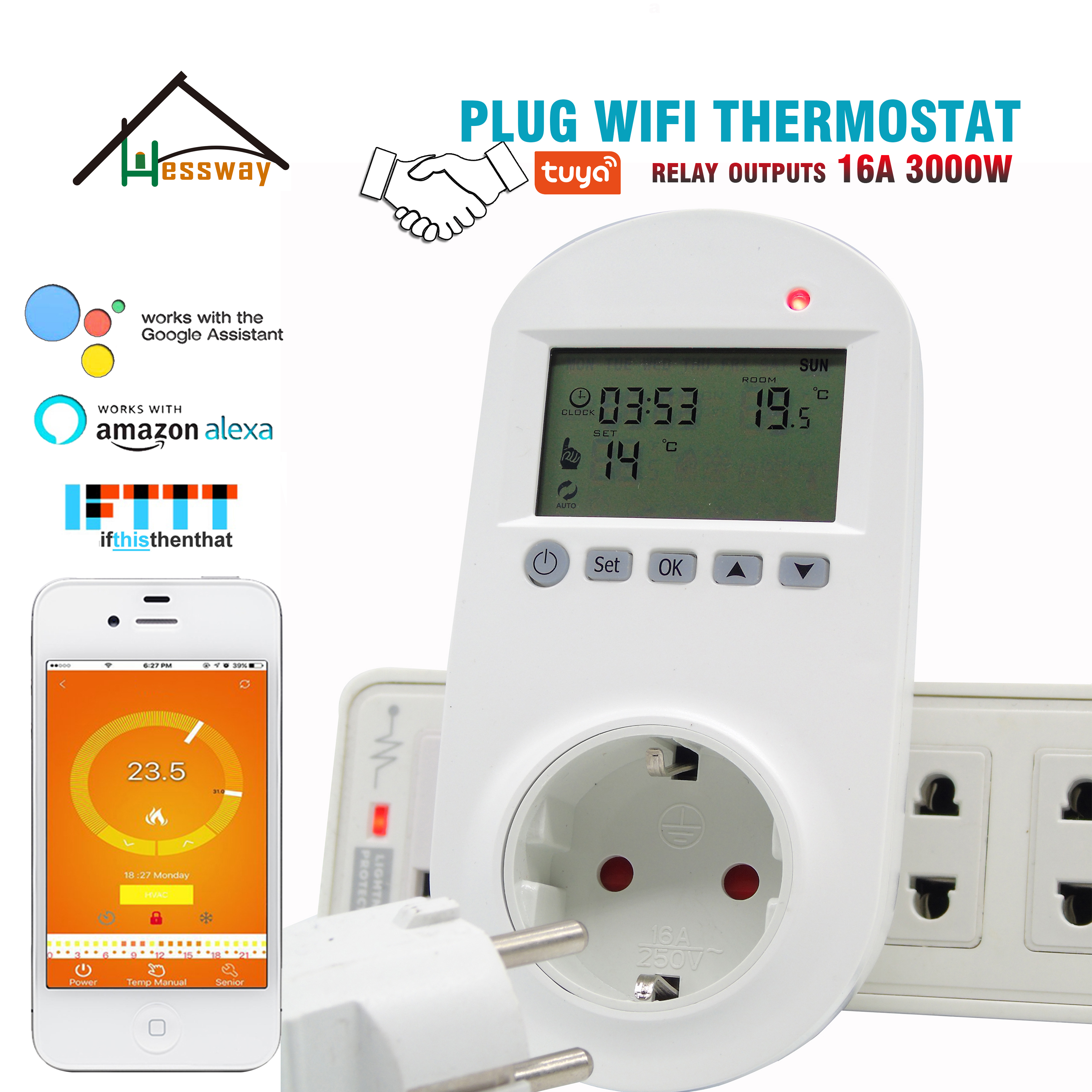 HESSWAY TUYA 16A  Programmable WIFI Electric Heat Thermostat For EU Plug Socket
