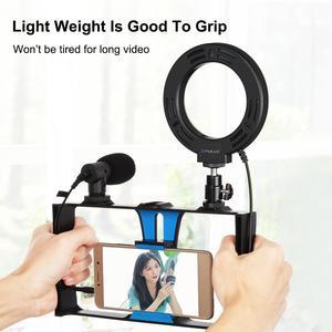 Image 5 - PULUZ – plate forme vidéo 4 en 1 pour diffusion en direct sur Smartphone, avec anneau lumineux Selfie RGBW de 4.7 pouces et support trépied de Microphone, tête de trépied
