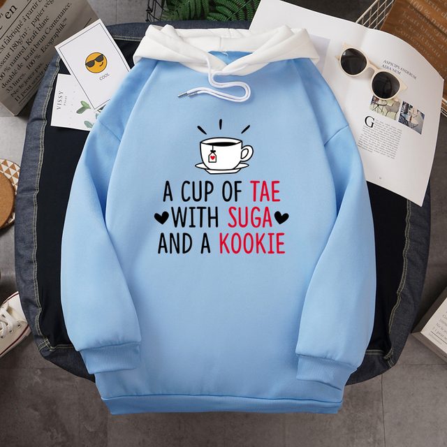 A CUP OF TEA WITH SUGA AND A KOOKIE THEMED HOODIE