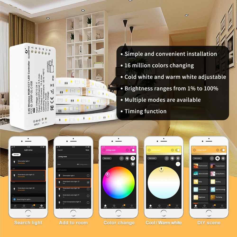 Controlador inteligente de inicio zigbee compatible con echo plus smartthings control de voz RGB + CCT color DC12-24V funciona con zigbee hub