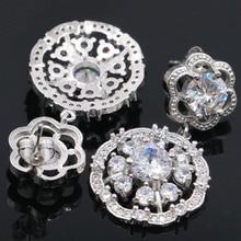Beautiful Rich Blue Aquamarine, White CZ Womans Wedding Ear Stud 925 Silver Earrings 20x17mm