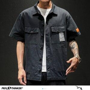 Image 3 - Privathinker Men Safari Style Shirt Streetwear 2020 Mens Japanese Shirts Casual Korean Male Big Pockets Shirts Summer Oversize