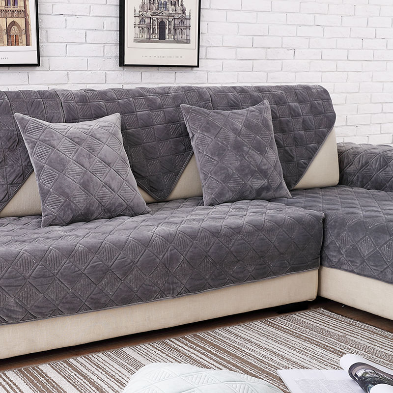 Toalla de sofá de felpa corta de Color gris, funda de sofá acolchada gruesa, cubierta de sofá Europea antideslizante para sala de estar