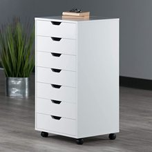 Mobile Filing Storage File Vertical Wood Cabinet with Wheel Lockable Casters, 7-Drawer, 26.3