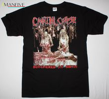 CANNIBAL CORPSE BUTCHERED AT BIRTH 1991 DEATH METAL GRINDCORE NEW BLACK T-SHIRT 100% Cotton Print Mens Summer O-Neck Shirt