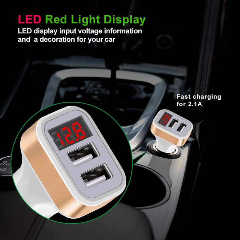 Dual 2 Usb Mobil Charger LED 5V/2.1A Digital Display untuk iPhone Xiaomi Samsung Fast Charge Adaptor Usb kabel Ponsel Charger
