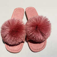 Cute Tassel Furry Slippers Pink Woman Summer Faux Fur Slide S Fluffy Sandals Flat Womens Shoes  Size 10  Home  Leather Slides