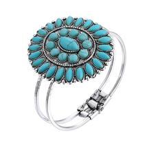 Boho Vintage Silver Blue Stone Sunflower Bangle Women Indian Ethnic Statement Bangles Bracelets