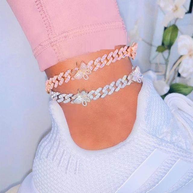 2020 Summer new fashion Tennis Pink Anklet Chain Jewelry Charming Cuban Link Rhinestone mini cz paved Butterfly Anklet wholesale 1