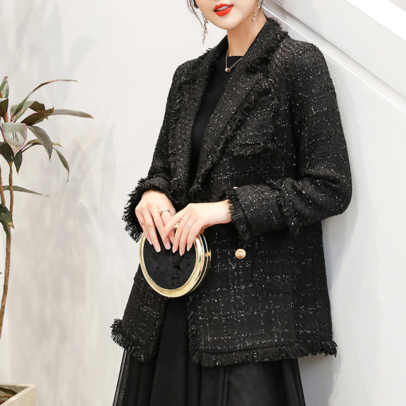 2020 Autumn Winter Plus Size Women Vintage Plaid Tweed Blazers Coats Tassel White Office Suit Jackets Female Outwear Tops Mujer