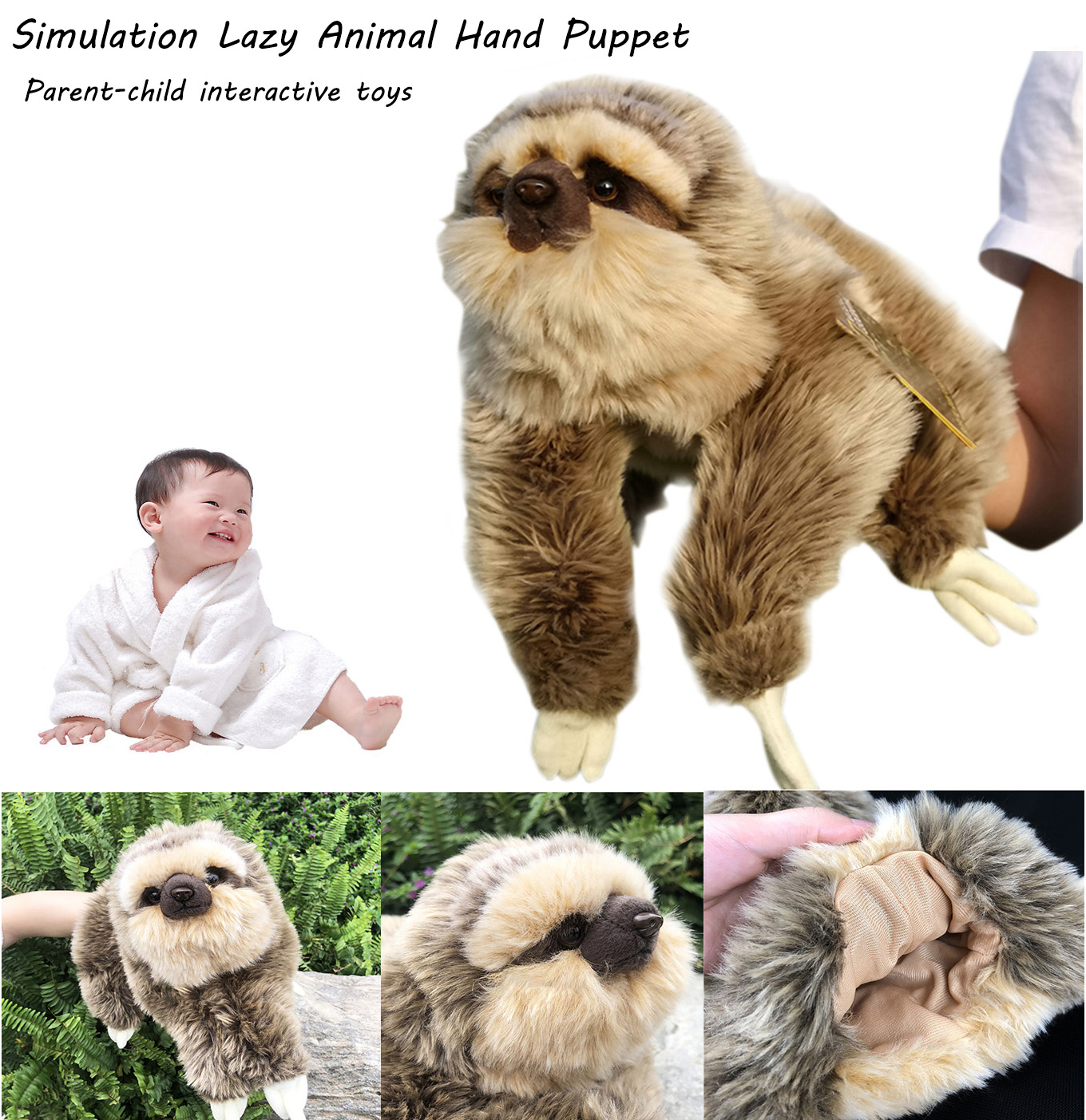 Animal Hand Puppet Stuffed Puppets Dolls Plush Sloth Hand Doll Learning Baby Toys Cute Simulation Children And Kids Gifts