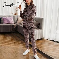 Simplee Mode Hooded Sweater Pak Slanke Flanel Vrouwen Tweedelige Set Herfst Sport Pak Leisure Suit Jogging Tweedelige set
