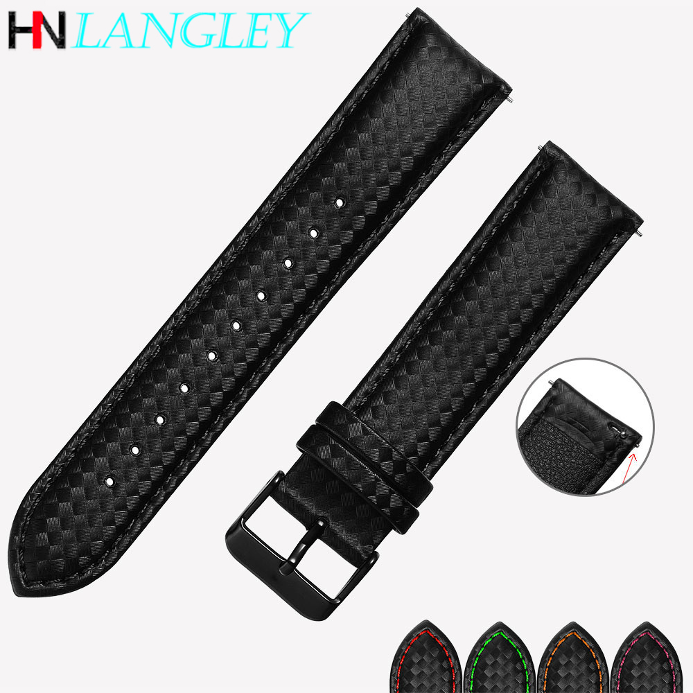 Carbon Fiber <font><b>Leather</b></font> Watch Strap Band For <font><b>Samsung</b></font> Gear S3 S2 Classic Galaxy Active Watch Band 20mm 22mm Quick Release Strap image