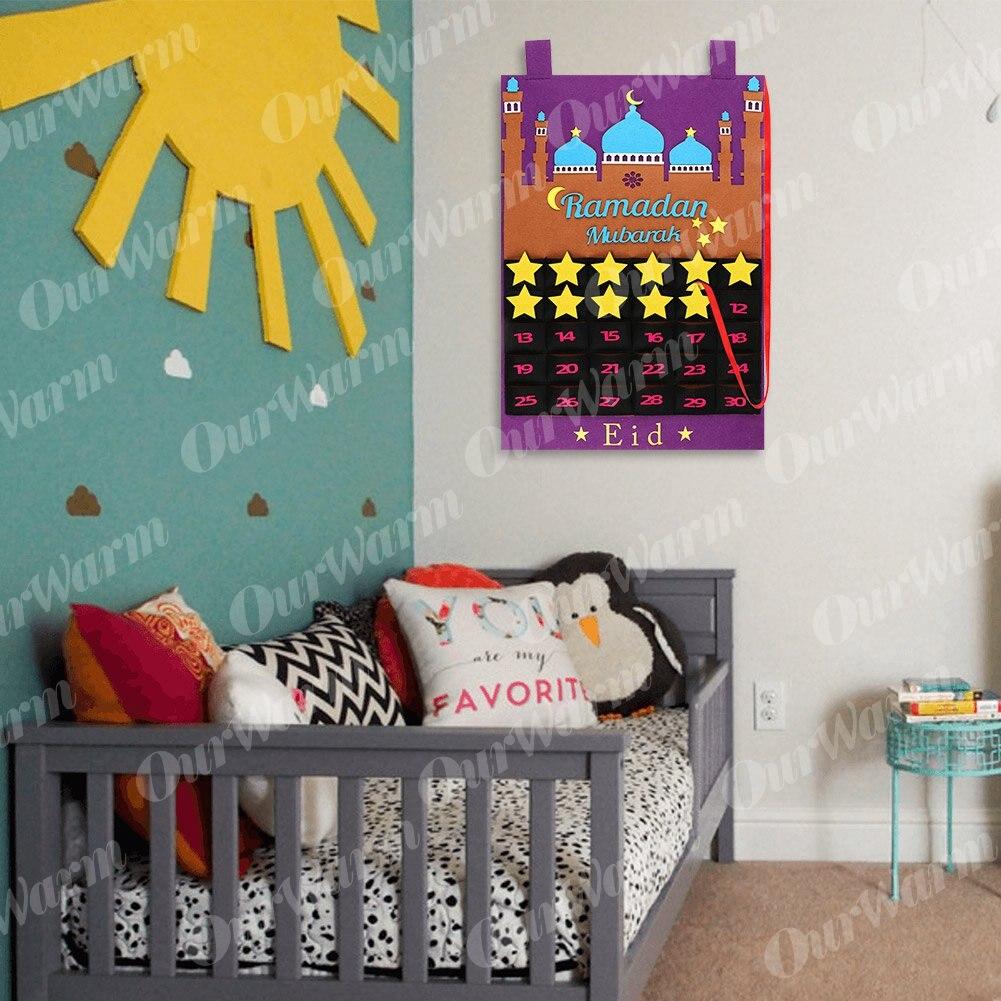 2020 Newest Eid Mubarak 30days Advent Calendar Hanging Felt Countdown Calendar for Kids Gifts Ramadan Party Decorations Supplies