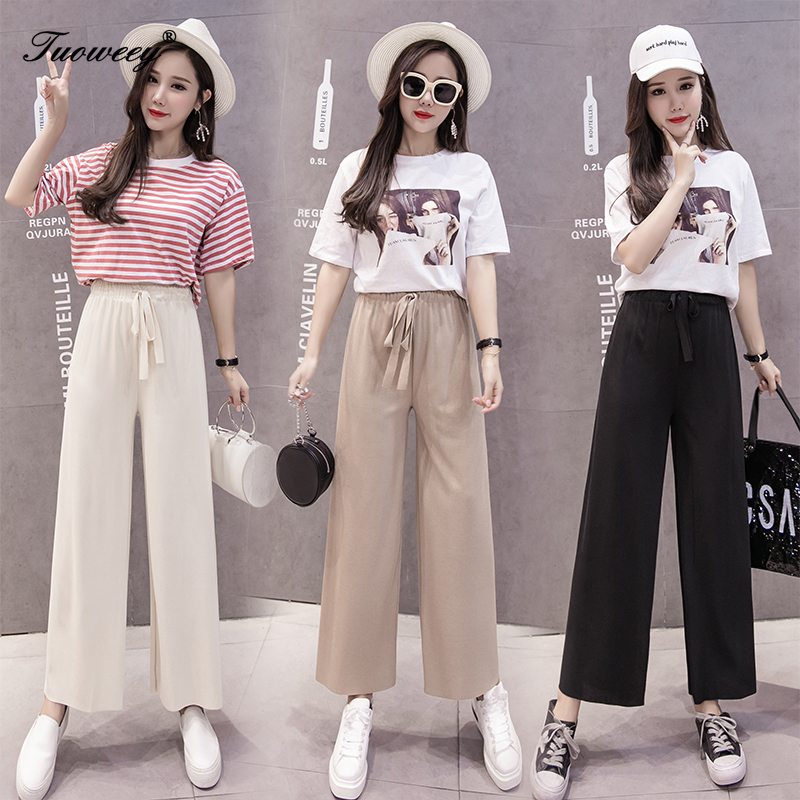 Women   Pants   Fashion Female Casual Loose Solid Elasitc High Waist 2019 Spring Summer Elegant   Wide     Leg     Pant   Office Lady Trousers
