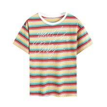 Summer Rainbow Striped Letter Print Women's T-Shirt Fashion Trends Round Neck Short Sleeve Ladies T-Shirt cute round neck short sleeve striped star print t shirt mini skirt twinset for girl