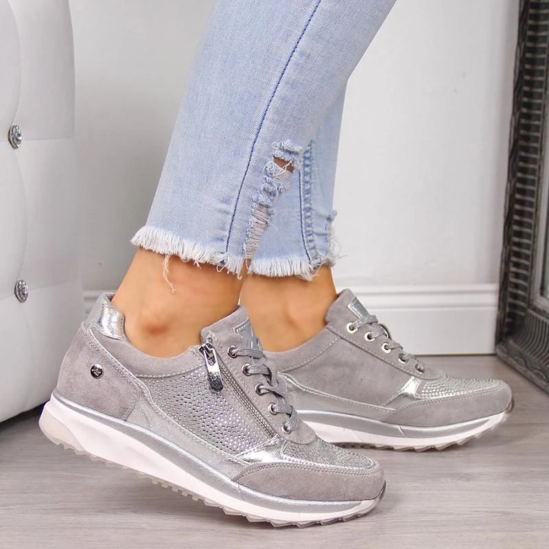 Women Casual Shoes 2020 New Fashion Wedge Flat Shoes Zipper Lace Up Comfortable Ladies Sneakers Female