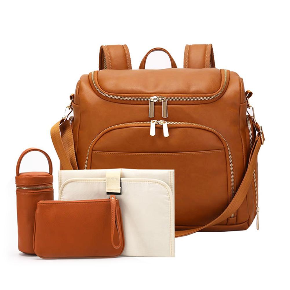 Fashion Mummy Maternity Nappy Bag PU Leather Large Capacity Baby Bag Travel Backpack Designer Nursing Bag For Baby Care