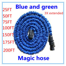 25-200FT Garden Hose With Expandable Water Hose Blue Green Garden Water Hose Connector EU/US [There Is No Spray]