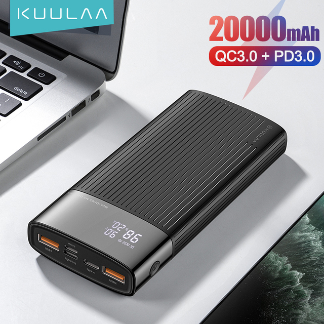 KUULAA Power Bank 20000mAh QC PD 3.0 PoverBank Fast Charging PowerBank 20000 mAh USB External Battery Charger For Xiaomi Mi 10 9 1