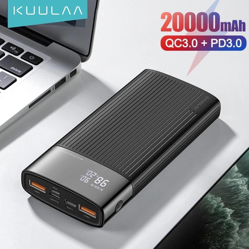 KUULAA Power Bank 20000mAh QC PD 3.0 PoverBank Fast Charging PowerBank 20000 mAh USB External Battery Charger For Xiaomi Mi 10 9