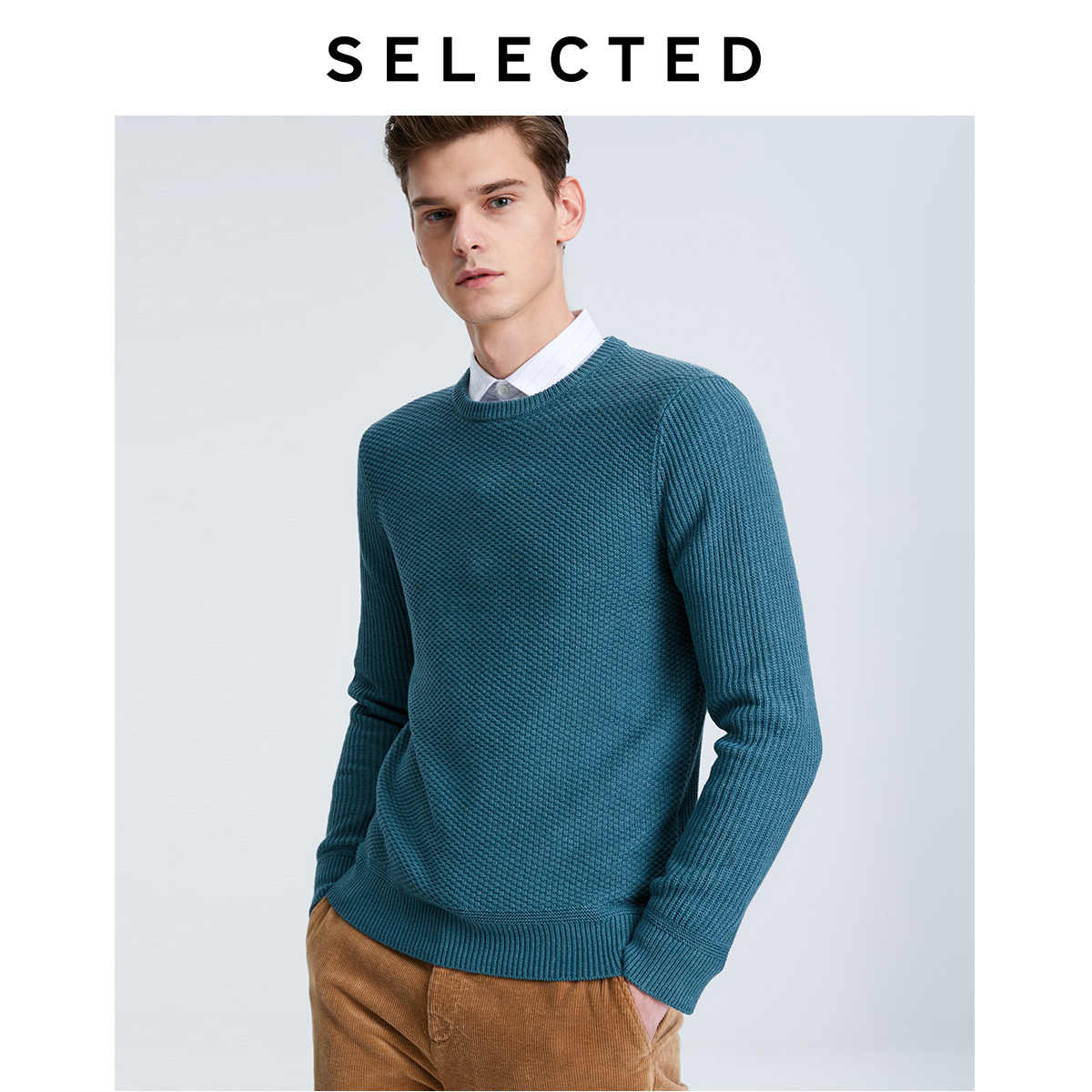 Wybrany męski sweter zimowy O-Neck Pure Color Business-casual swetry z dzianiny odzież S   419425513