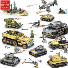 1061Pcs Militaire Technic Iron Rijk Tank LegoINGs Bouwstenen Sets Wapen Strijdwagen Schepper Leger WW2 Soldaten Bricks Speelgoed(China)