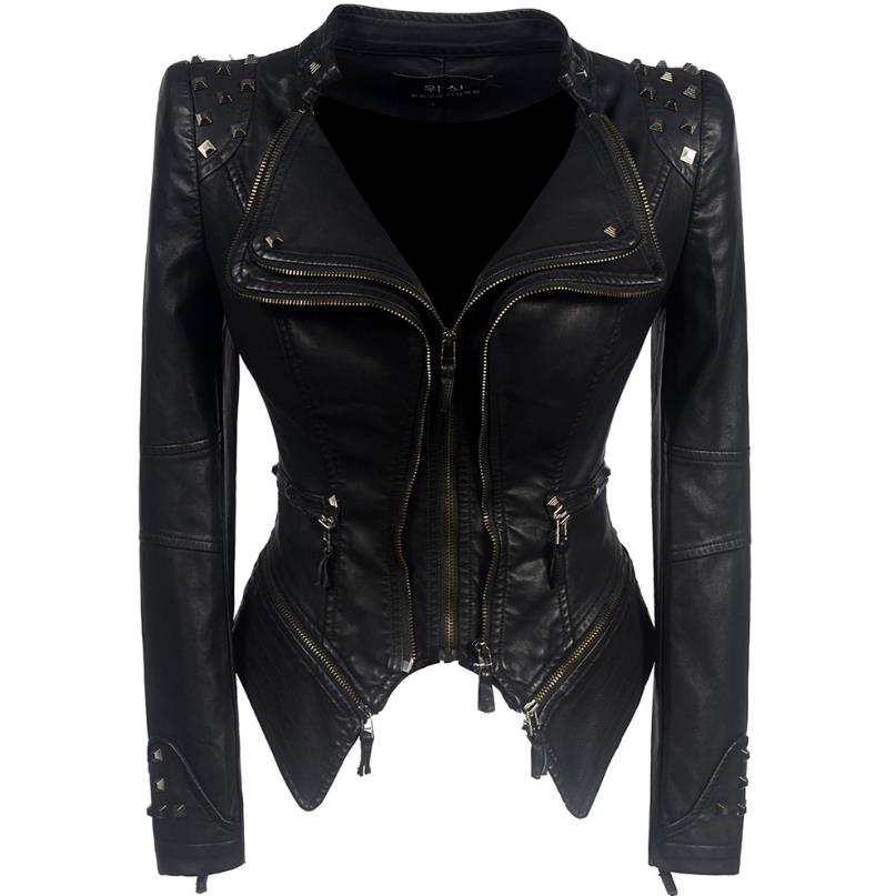 women warm winter autumn black fashion motorcycle jacket outerwear imitation   leather   PU gothic jacket imitation   leather   coat
