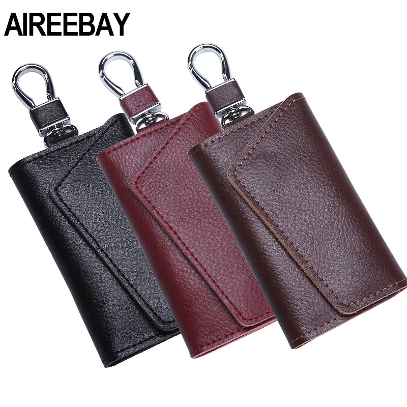AIREEBAY Genuine Leather Keychain Men Women Key Holder Organizer Pouch Cow Split Car Key Bag Wallet Housekeeper Key Case Pouch