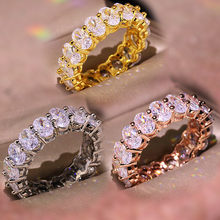 Classic jewelry 3 colors 925 sterling silver full diamond ring or woman wedding party jewelry making shiny zircon gift