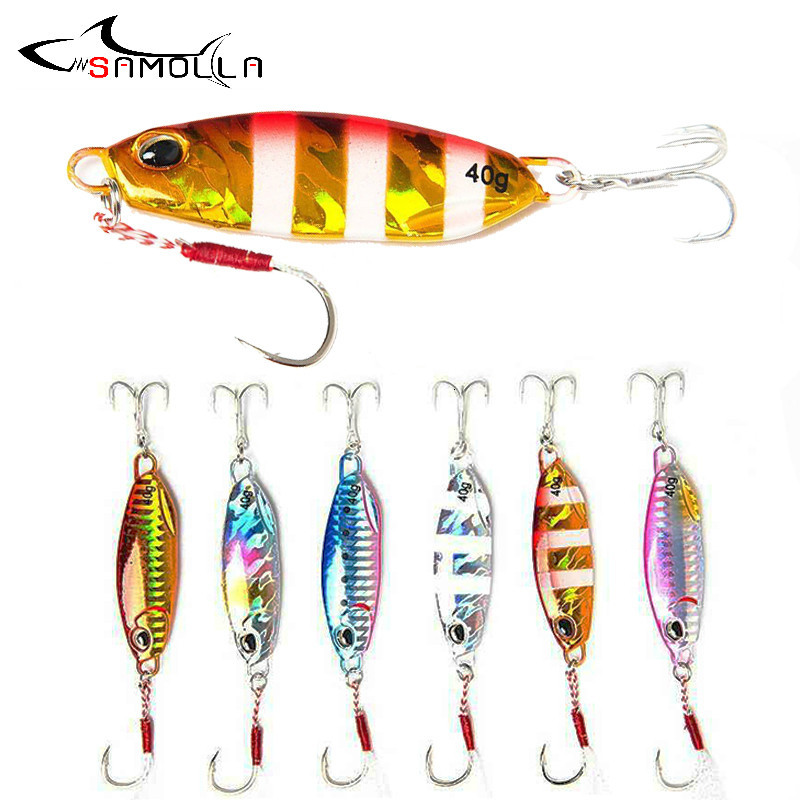 Big Jig Fishing Lure Weights 15-60g Fishing Jigs Saltwater Lures Metal Bass Jig Isca Artificial Fake Fish Glitter Holographic