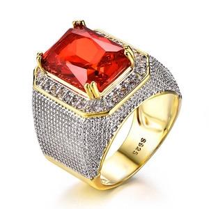 Image 5 - Bague Ringen Luxury 100% เงินสเตอร์ลิงแหวนรูปสี่เหลี่ยมผืนผ้าทับทิมอัญมณี Charm แหวนเงินชายเครื่องประดับของขวัญขายส่ง