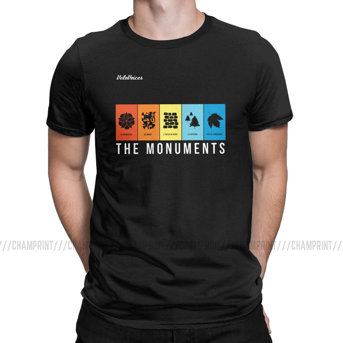VeloVoices Monuments T Shirt Men Fashion For Male T-Shirt Round Neck Bike Cycling Bicycle Biking Ride Tees Clothes Gift Idea
