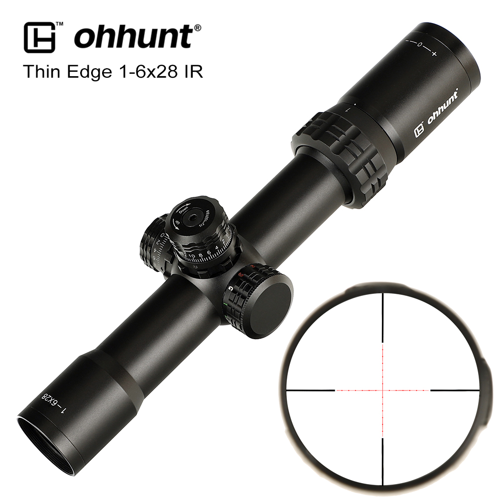 Ohhunt Thin Edge 1-6x28 IR Hunting Optical Sight Mil Dot Red Green Blue Illuminated Reticle With Turret Lock Reset Riflescope