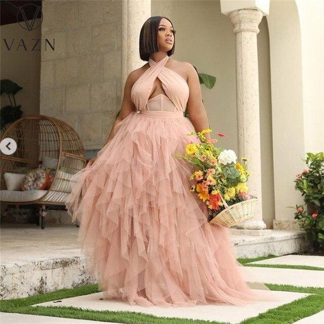 VAZN New 2021 Single Tulle Lace Women Elegant Fashion Maxi Dress Slim Dress Club Birthday Shinny Dress 1