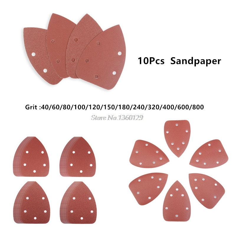 10Pcs Triangle 5 Hole Self-adhesive Sandpaper Grit 40-800 Sander Sand Paper Hook & Loop Sandpaper Disc Abrasive Tool Polish Tool