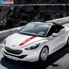Autocollants de capot pour Peugeot RCZ coupé, autocollants à rayures, couvertures décoratives en vinyle, pour course, Sport, pour moteur automobile